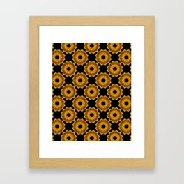 Sunflowers - Black and Gold Autumn Floral Mandala Fractals - Moroccan style Framed Art Print