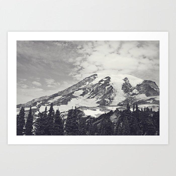 Mount Rainier B&W Art Print