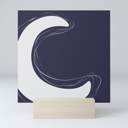 Abstract C-letter unique typography, Dark blue and white, Mini Art Print