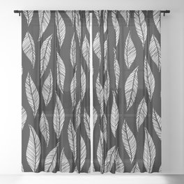 Black and White Tropical Motif Sheer Curtain