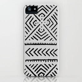 Line Mud Cloth // Light Grey iPhone Case