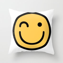 Smiley Face   Squinting Big Smiling Happy Smileys Throw Pillow
