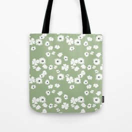Modern floral on dusty green ground Tote Bag