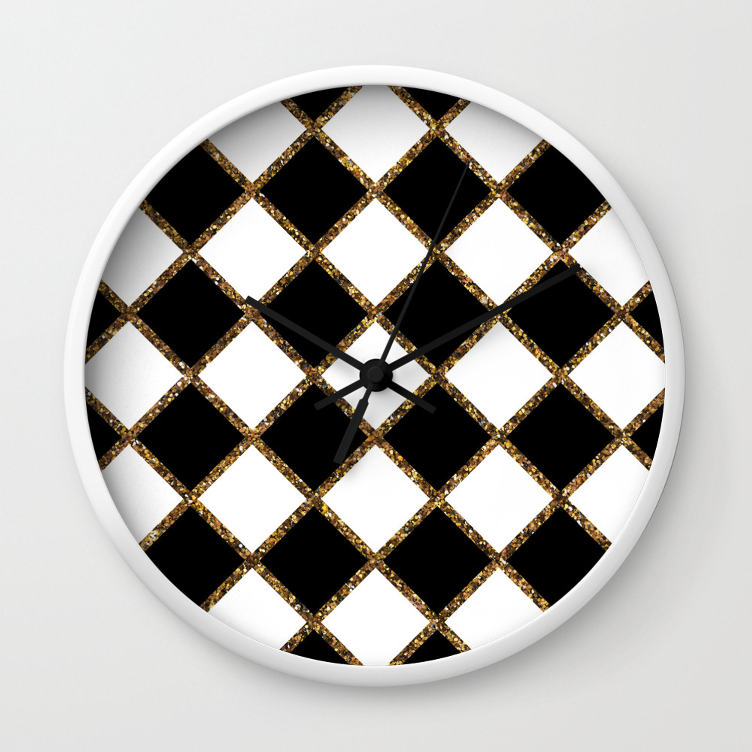 Geometric Ornament Gold Seamless Pattern Wall Clock By Fuzzyfox85 Society6