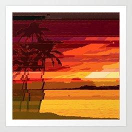 Tropical Glitchset Art Print