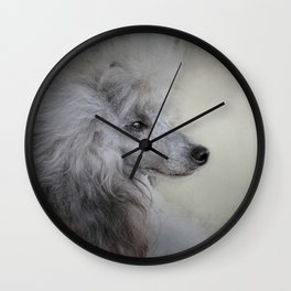 Longing - Silver Standard Poodle Wall Clock