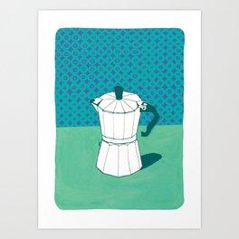 Coffee Pot with Wallpaper (jade green) Art Print