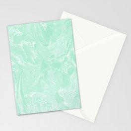 Mint Green Pastel Liquid Swirl Marble Minimalist Spring Summer Stationery Cards