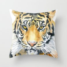Tiger Watercolor Painting Throw Pillow
