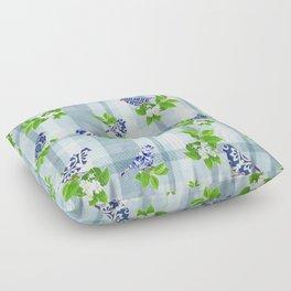 Blue Bird Plaid Floor Pillow