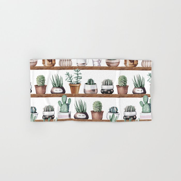 Cactus Shelf Rose Gold Green Hand & Bath Towel
