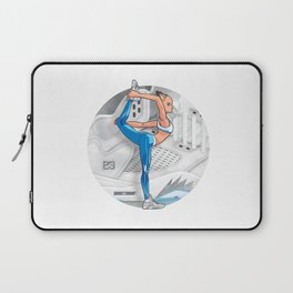 Yoga girl Cool Noodle and Metallic Silver Laptop Sleeve
