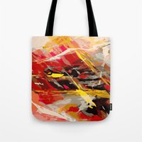 cage Tote Bags featuring fire cage by Matthias Hennig