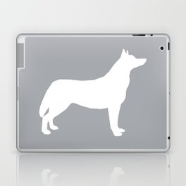 Husky dog pattern simple minimal basic dog silhouette huskies dog breed grey and white Laptop & iPad Skin