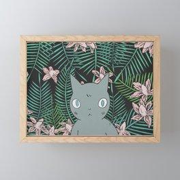 Cat with Palm Tree Leaves Framed Mini Art Print
