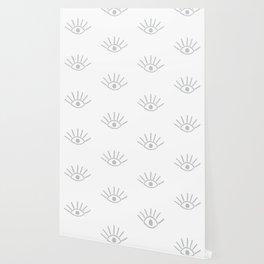 Light Grey Evil Eye Pattern Wallpaper