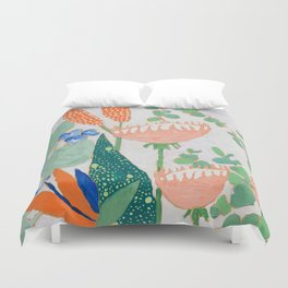 Proteas and Birds of Paradise Painting Duvet Cover