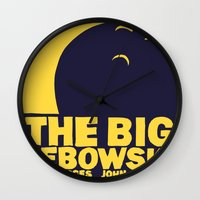 the big lebowski Wall Clocks featuring The Big Lebowski by Chá de Polpa