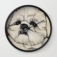 shih tzu Wall Clocks featuring Waffles the Shih Tzu by Cheney Beshara