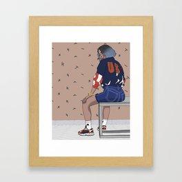three stripes ( brown ) Framed Art Print