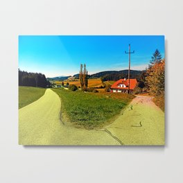 Countryside road with two options Metal Print