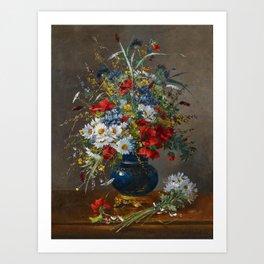 Eugene Henri Cauchois - Summery Bouquet in a Bulbous, Brass-mounted Glass Vase Art Print