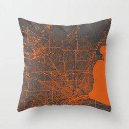 Detroit map orange Throw Pillow
