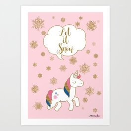 Unicorn Christmas - Let it Snow Art Print