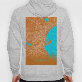 Aarhus, Denmark, Gold, Blue, City, Map Hoody