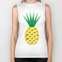 pineapple Biker Tanks featuring Pineapple by mailboxdisco