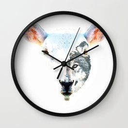 A Wolf In Sheep's Clothing by Sharon Cummings Wall Clock
