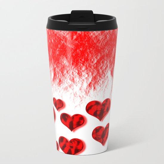 Hearts Abstract Pattern Metal Travel Mug