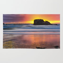 Perranporth Sunset, Cornwall, England, United Kingdom Rug