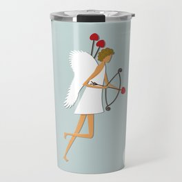 Cupid with bow and heart shaped arrows. All you need is love concept. Travel Mug