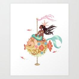 Mermaid Carousel - The Pufferfish Art Print