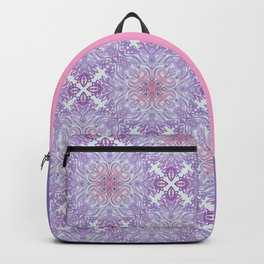 Grey, Pink and Purple Textured Folk Art Doodle Backpack