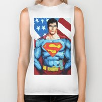 man of steel Biker Tanks featuring Man of Steel by Dave Franciosa