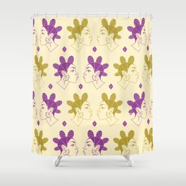 Queen of Diamonds gold and purple Shower Curtain