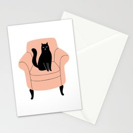 black cat on a chair Stationery Cards