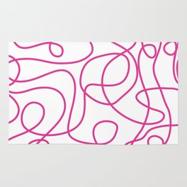 Doodle Line Art   Hot Pink Lines on White Background Rug