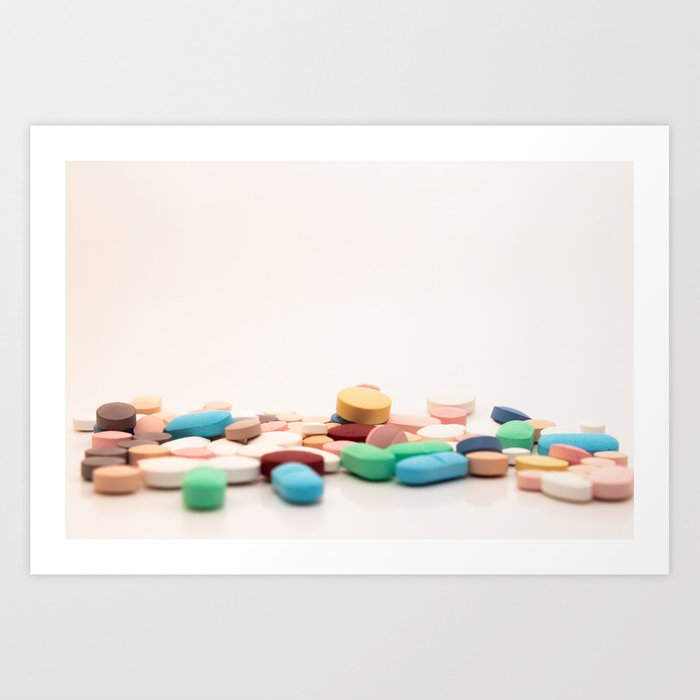 Numerous medicines Medications in the form of tablets  Colored pills on a  white background  Art Print by horacioselva