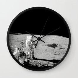 Apollo 14 - Black & White Moon Work Wall Clock