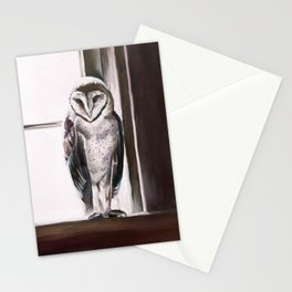 Purple Barn Owl painting Stationery Cards