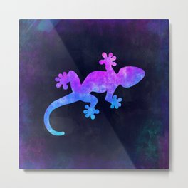 GECKO IN SPACE // Animal Graphic Art // Watercolor Canvas Painting // Modern Minimal Cute Metal Print
