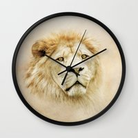 lion Wall Clocks featuring Lion by Peaky40