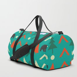 Winter bear pattern in green Duffle Bag
