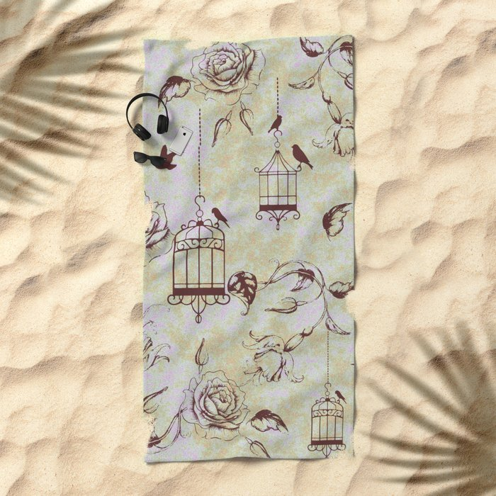 Roses & cages Beach Towel
