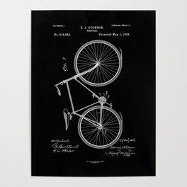 Vintage Bicycle Patent Black Poster