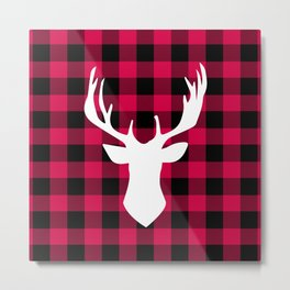 Winter Plaid Deer Metal Print