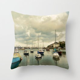 Brixham harbor  Throw Pillow